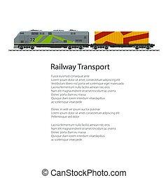 Poster Locomotive with Orange Cargo Container