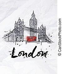 Poster London skyscrapers Tower Bridge and Big Ben drawing...