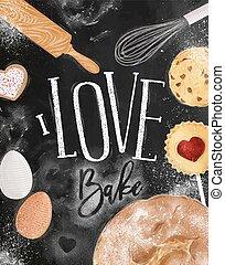 Poster love bake chalk