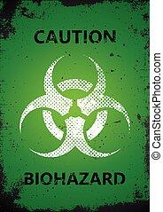 poster., manifesto, biohazard, logotipo, grunge, design.