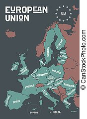 Poster map of the European Union with country names