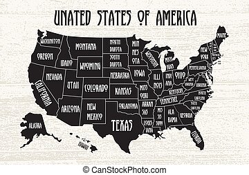Poster map of United States of America with state names. Black and white print map of USA for t-shirt, poster or geographic themes.