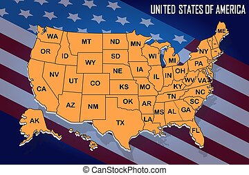 poster map of united states of america with state names on the flag background