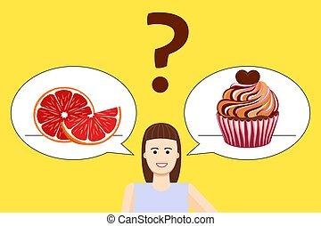 poster, meisje, dieet, keuze