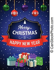 Poster Merry Christmas and Happy New Year. The inscription in a