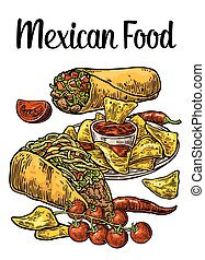 Poster Mexican traditional food. Burrito, tacos, chili, tomato, nachos