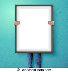 Poster mockup with place for your design. Vector illustration.