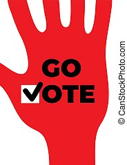 poster., motivational, do góry, ręka, towarzyski, iść, vote.