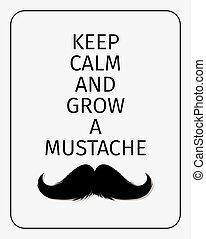 poster., moustaches, garder, calme, grandir, moustache