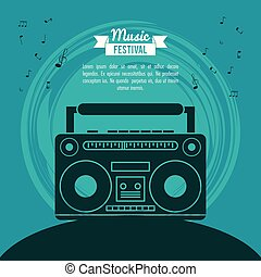 poster music festival in blue background with cassette tape player