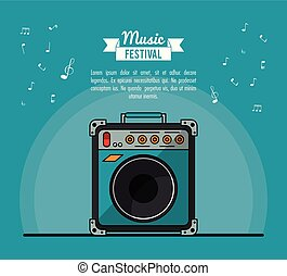 poster music festival in blue background with speaker box