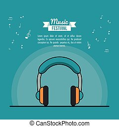 poster music festival in blue background with stereo headphones
