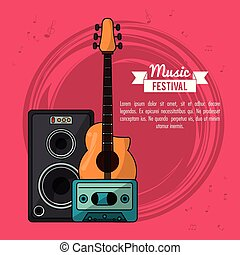 poster music festival in magenta background with guitar and speaker box and tape cassette