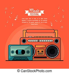 poster music festival in orange background with cassete tape player and cassette tape