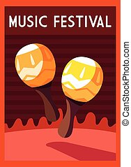 poster music festival with musical instrument