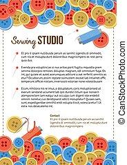 poster, naaiwerk, knopen, studio, mal, items