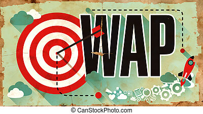 poster., negócio, concept., grunge, palavra, wap