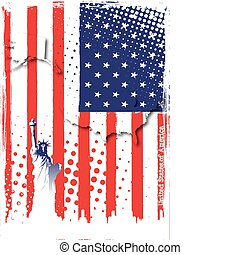 poster of america - statue of liberty on the flag of america