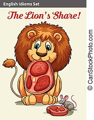English idiom showing a lion