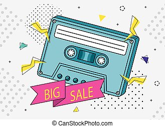 poster of big sale with cassette of nineties