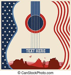 poster of concert music festival with guitar - American...
