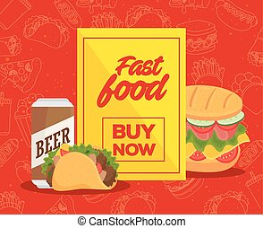 poster of fast food, buy now with sandwich and taco mexican food