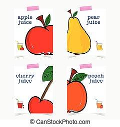 poster of fruit set in colorful illustration