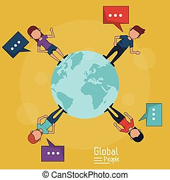 poster of global people with yellow background of planet earth and people around her with text dialogues