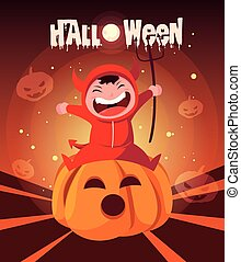 poster of halloween with boy disguised of devil in pumpkin