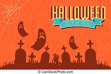 poster of halloween with ghosts in cemetery