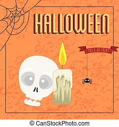 poster of halloween with skull and candle