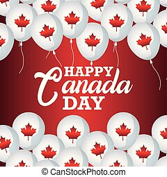 poster of happy canada day with balloons helium vector illustration design