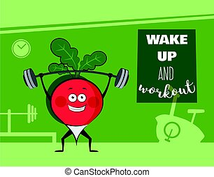 poster of happy radish exercise at a gym. Healthy lifestyle motivation poster.