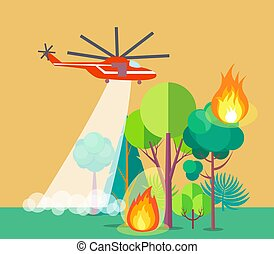 Poster of Helicopter Extinguishing Wildfire - Poster showing...