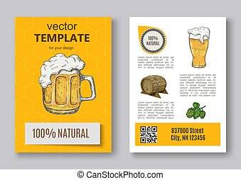 Poster of hop plant, wood barrel and beer mugs