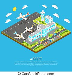 Poster Of Isometric Airport - Poster of square platform...