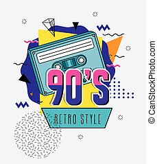 poster of nineties with cassette retro style pop art