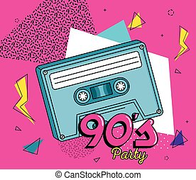 poster of party with cassette of nineties