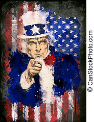 Poster of Uncle Sam and the USA flag - Poster of Uncle Sam...