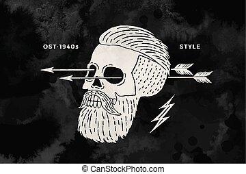 Poster of vintage skull hipster label for t-shirt print