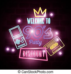 poster of welcome nineties with decoration of neon light