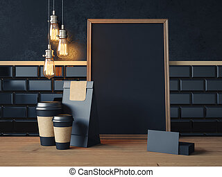 Poster on the wood table with blank black elements. 3d rendering
