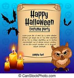 Poster on theme of the Halloween holiday. Sketch with space for text on old paper sheet. Vector illustration.