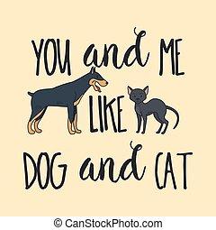 poster, ontwerp, dog, kat
