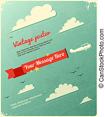 poster, ontwerp, retro, clouds.