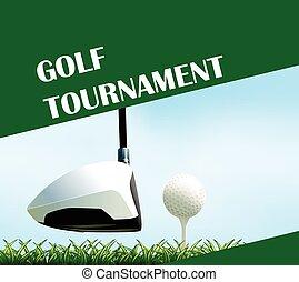 poster, ontwerp, toernooi, golf