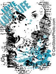 poster, ontwerp, vrouw, mode