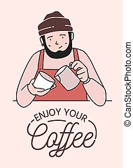 Poster or card template with cute smiling barista making...
