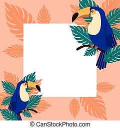 Poster or invitation toucans on a branch with palm leaves. Beautiful tropical bird in the leaves.