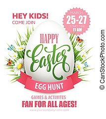 poster., ovo caça, ilustração, vetorial, páscoa